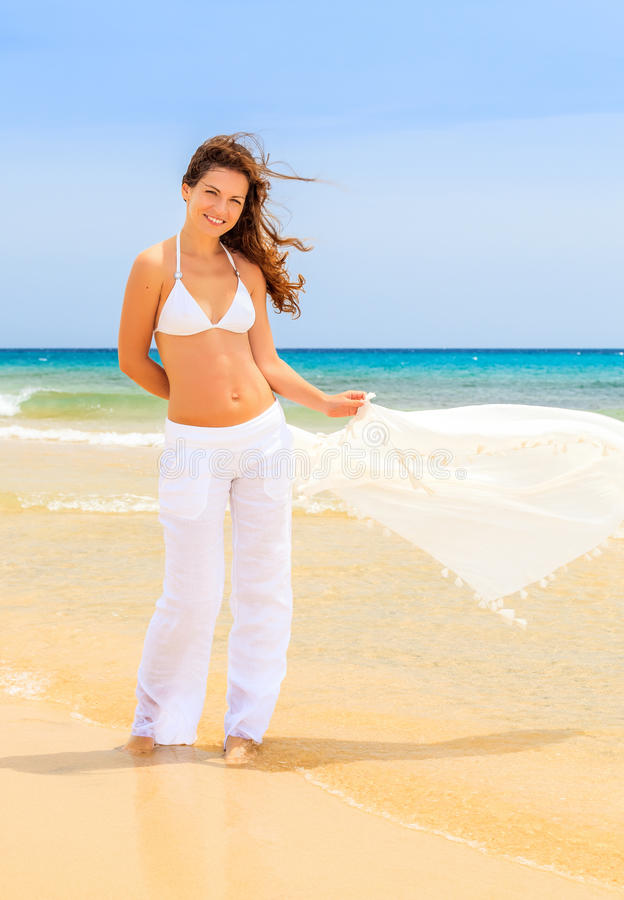 Download Young woman on ocean beach stock photo. Image of ocean - 38903272