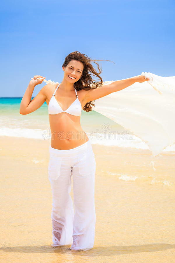 Download Young woman on ocean beach stock image. Image of beauty - 38903315