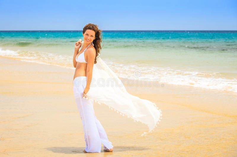 Download Young woman on ocean beach stock image. Image of leisure - 38903345