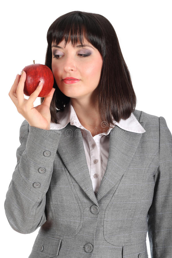 Young Woman Offer An Apple Royalty Free Stock Images