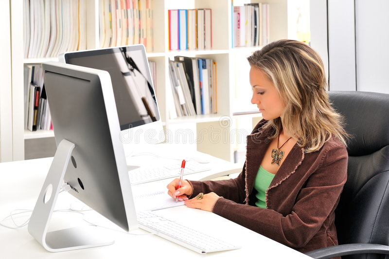 Download Young woman at the office stock image. Image of beautiful - 7579845