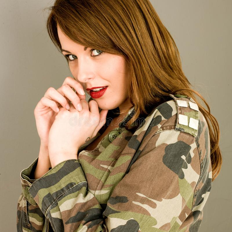Young Woman With Open Jacket Looking Shocked and Surprised stock photography