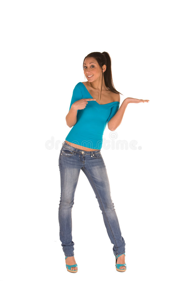 Young woman with open palm stock image