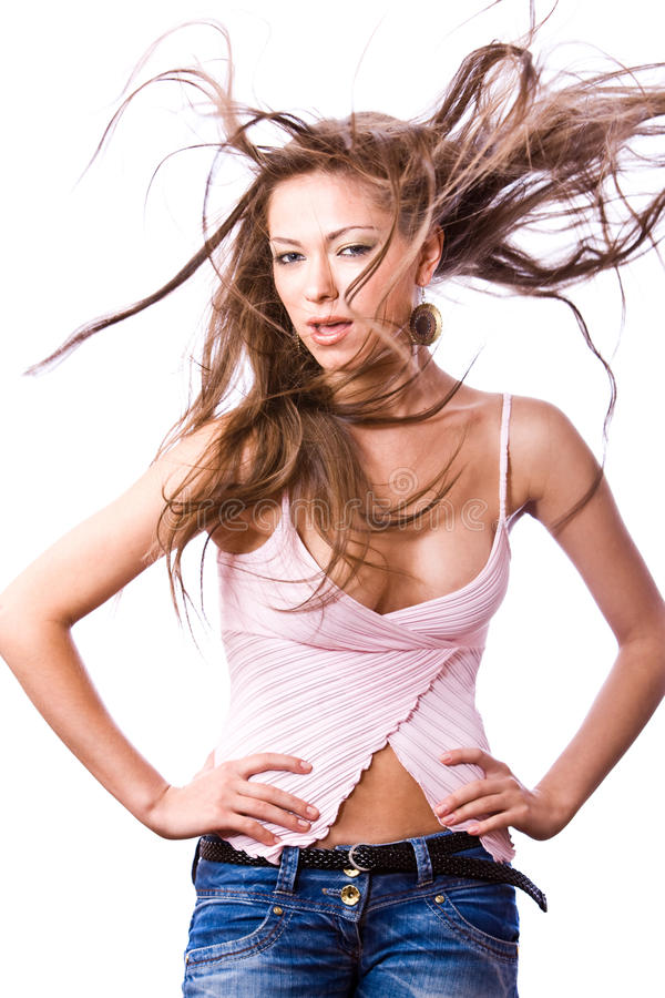 Download Young Woman With Opened Mouth And Long Hair Blown Stock Photos - Image: 10985003