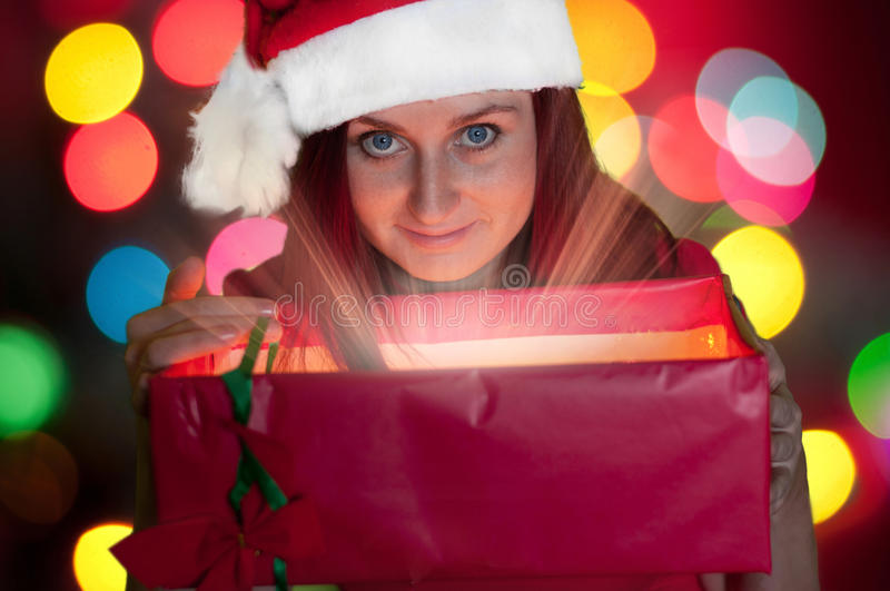 Download Young Woman Opening Gift Box Stock Image - Image: 34729011