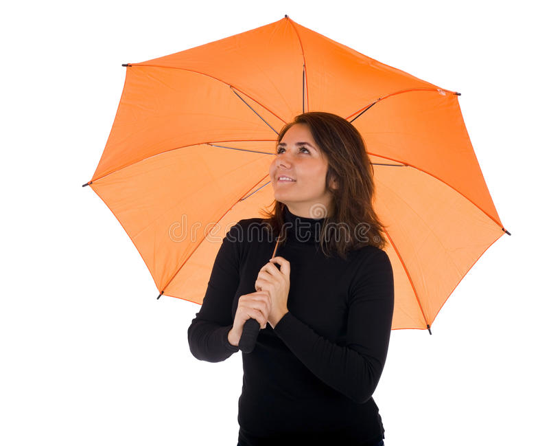 Download Young Woman With Orange Umbrella Stock Image - Image of brown, beauty: 12807157