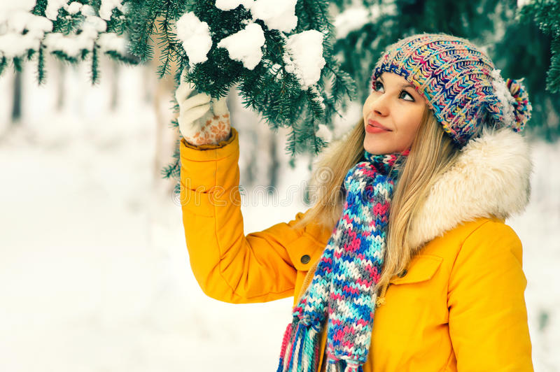 Young Woman Outdoor Winter Lifestyle. In hat and mittens fashion clothing holding fir tree branch snow nature on background stock photography