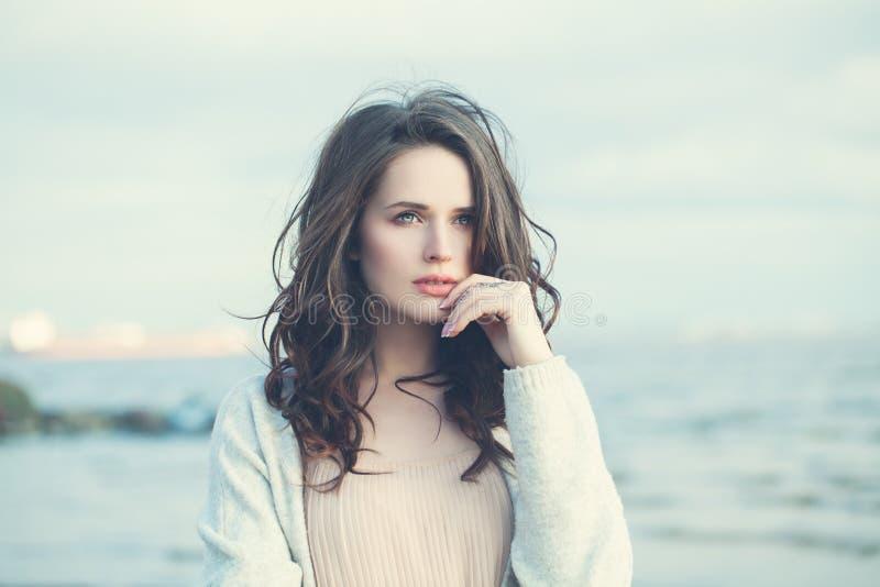 Young Woman Outdoors. Beautiful Girl Walking stock image