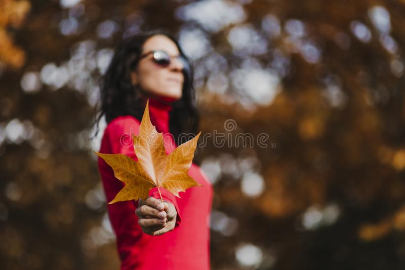 Young woman outdoors in a park holding a brown leave. Autumn concept. Selective focus royalty free stock photo