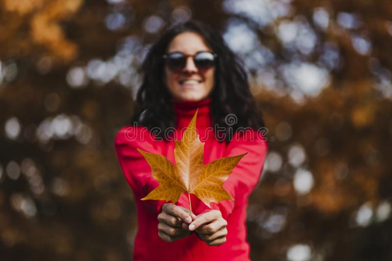 Young woman outdoors in a park holding a brown leave. Autumn concept. Selective focus royalty free stock image