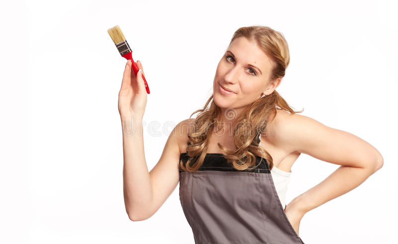 Young woman painting royalty free stock photography
