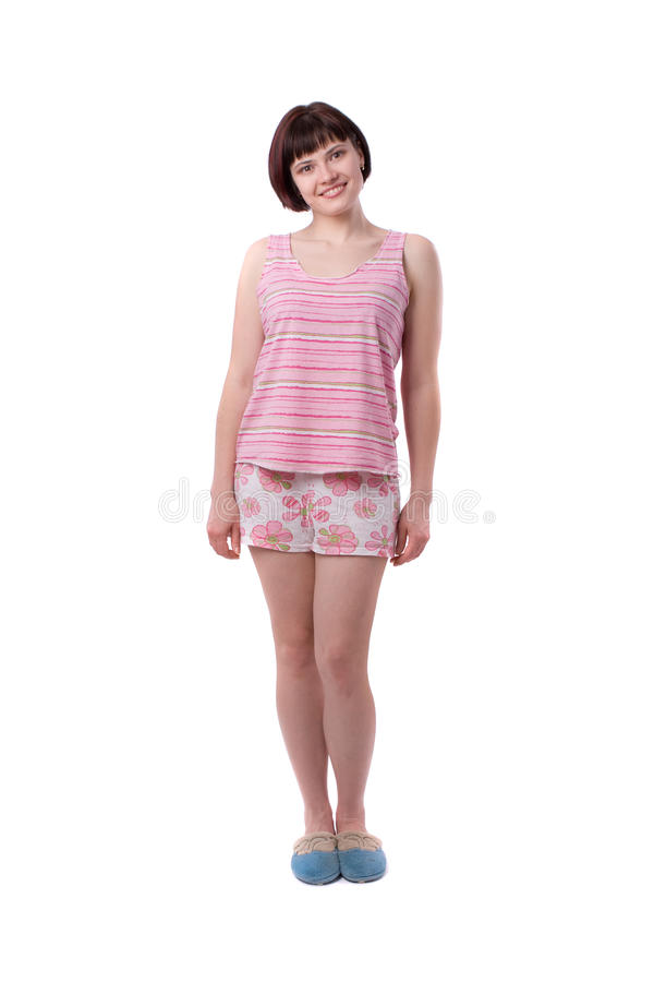 Young woman in pajamas stock photos