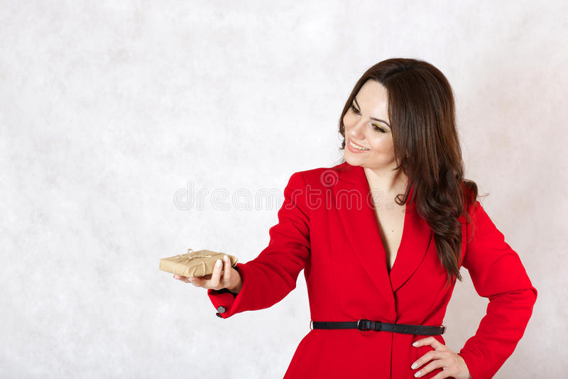 A young woman and a parcel stock photos