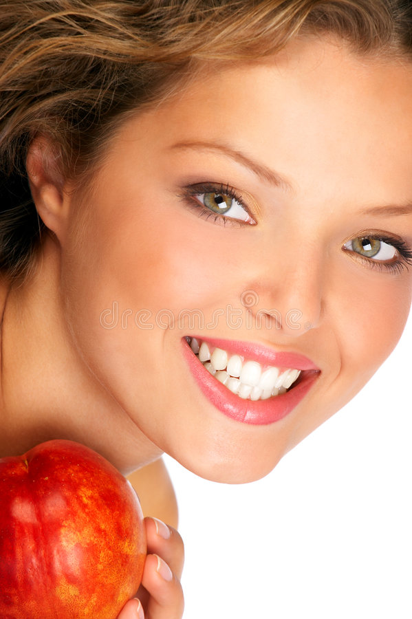 Young woman with peach royalty free stock photography