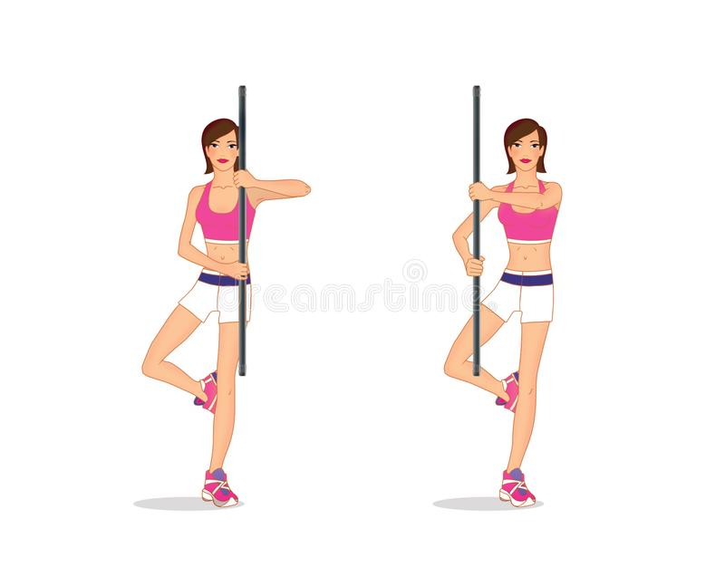 Young woman performs an exercise to strengthen the back muscles and balance standing on one leg and with a gymnastic stick in. Her hands. Isolated on white vector illustration