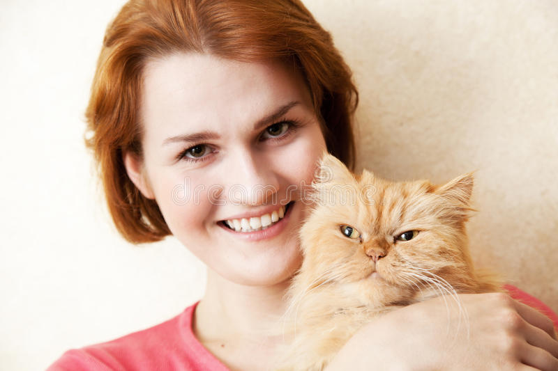 Download Young Woman With Persian Cat Stock Image - Image of white, mammal: 25562665