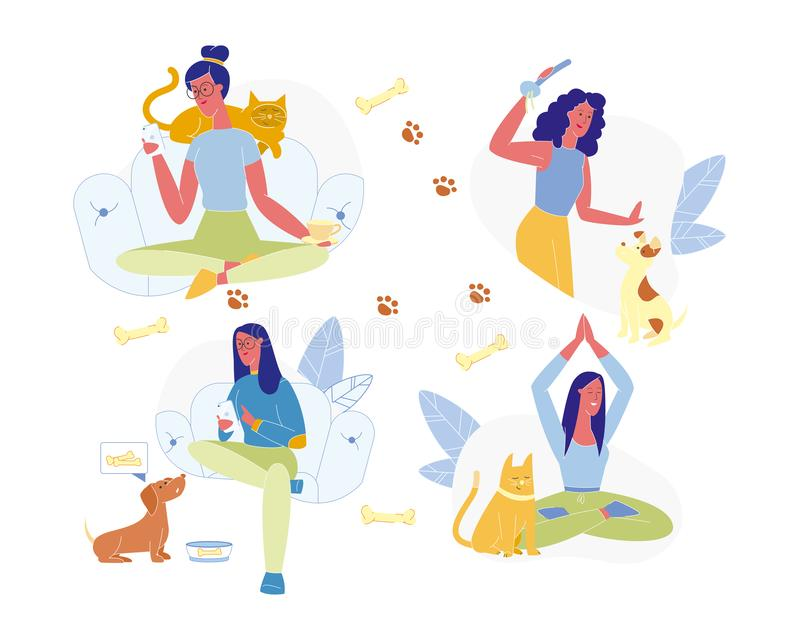 Female Character Spend Time Together with Animals. Young Woman and Pets Set Isolated on White Background. Female Character Spend Time Together with Domestic vector illustration