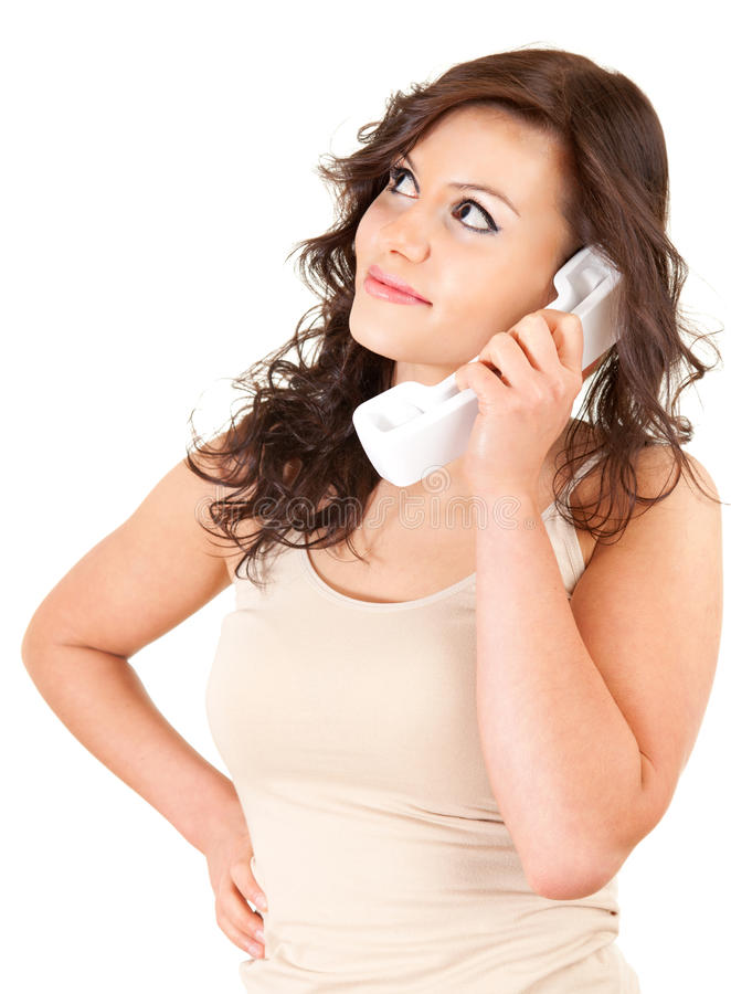 Download Young woman on the phone stock photo. Image of happiness - 24335642