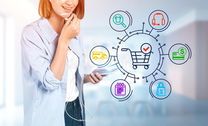 Young woman with phone, online shopping interface stock images