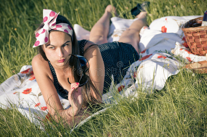 Download Young Woman During The Picnic Royalty Free Stock Images - Image: 25770199