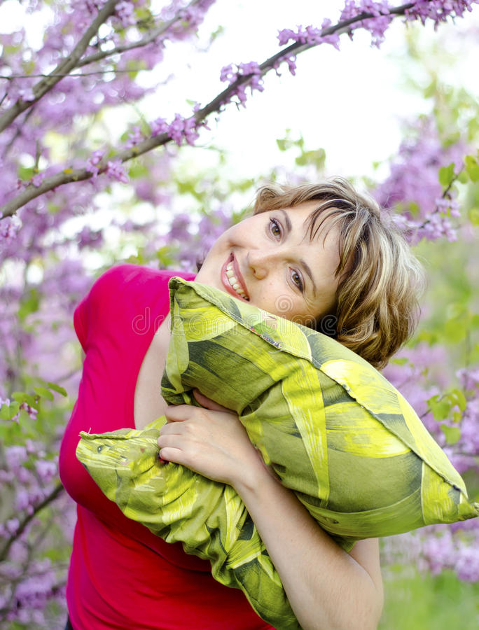 Young Woman With Pillow Stock Images