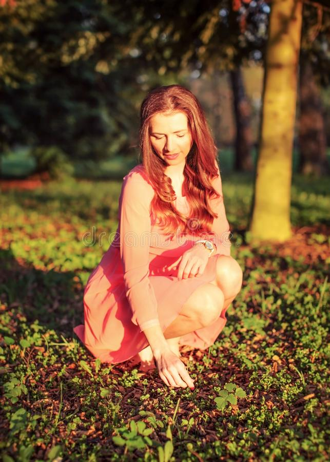 Young woman in pink dress crouching in the park, touching grass. On ground, during evening sunset light stock image
