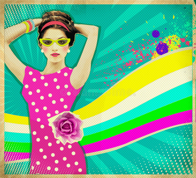 Young woman in pink dress and summer sunglasses .retro poster ba. Beautiful Young woman in pink dress and summer sunglasses .retro poster background royalty free stock photos