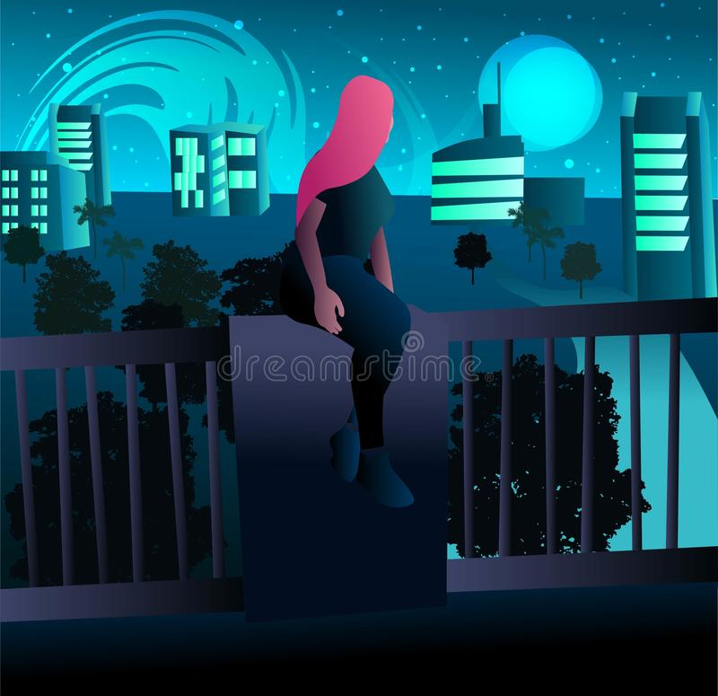 Young woman with pink hair looking at the city lights and the building in town. Big buildings and skyscrapers under the moonlight, stock illustration