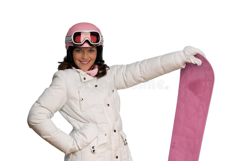 Download Young Woman With Pink Helmet And Snowboard Royalty Free Stock Photos - Image: 10683668
