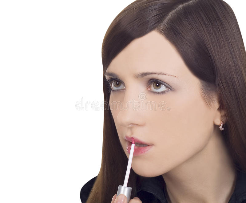 Young Woman With Pink Lipstick Royalty Free Stock Photo