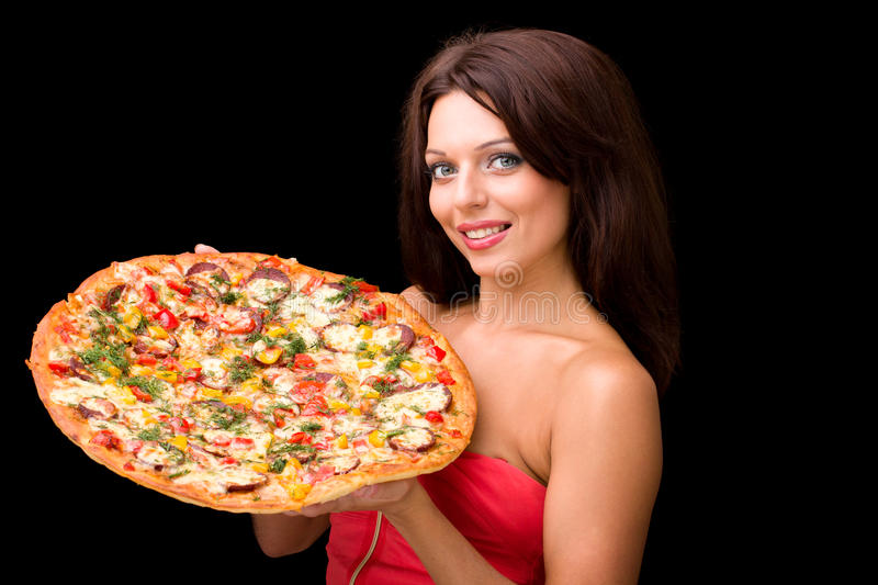 Download Young Woman With Pizza Royalty Free Stock Photography - Image: 28107947
