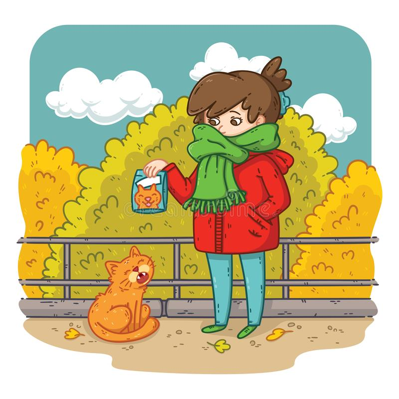 A young woman is planning to feed a stray cat. Bright and colorful illustration for kids, advertising, books, magazines. Problems with stray animals royalty free illustration
