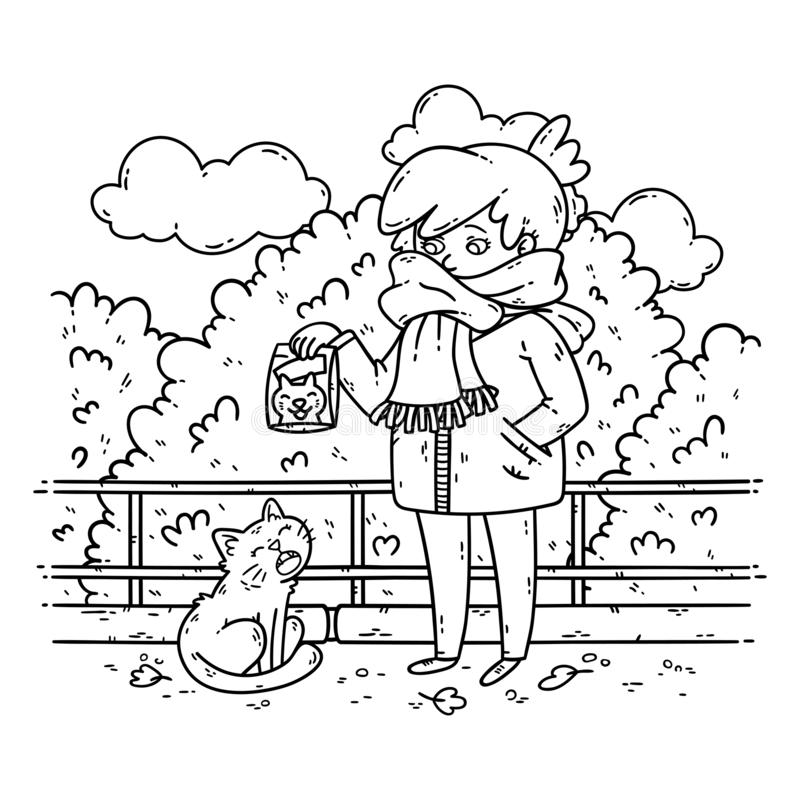 A young woman is planning to feed a stray cat. Coloring illustration for kids. Black and white illustration. Problems with stray animals. Illustration isolated royalty free illustration