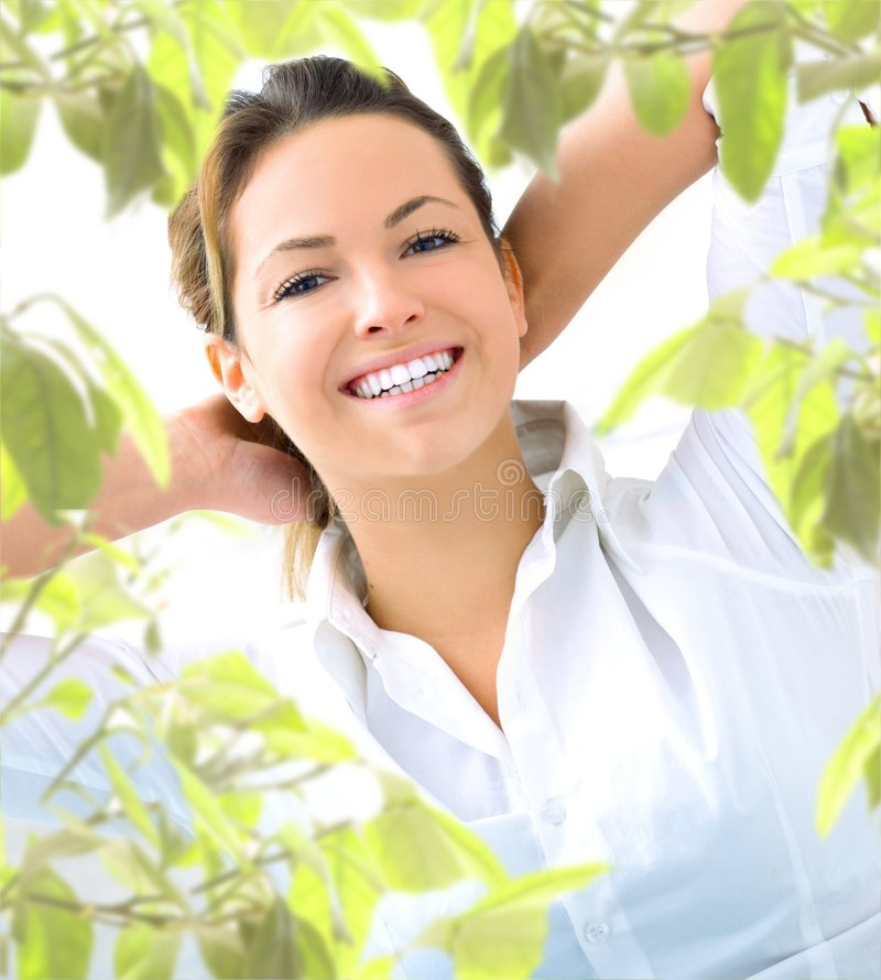 Young woman with plant royalty free stock photo