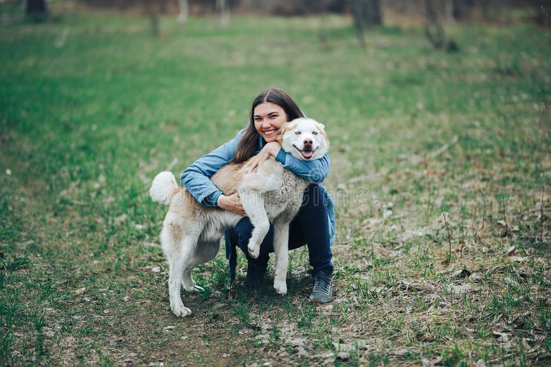 Young woman play with husky dog for a walk in spring forest. laughing having fun, happy with pet stock photography