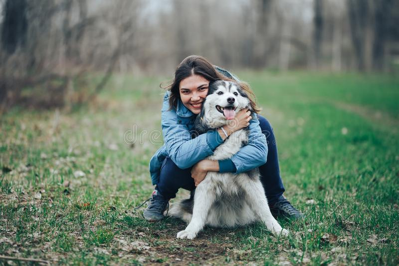 Young woman play with husky dog for a walk in spring forest. laughing having fun, happy with pet royalty free stock images