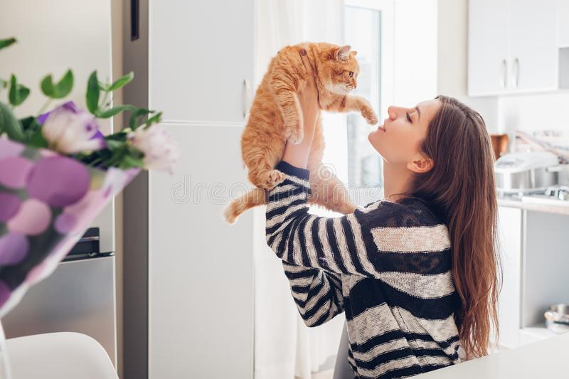 Young woman playing with cat in kitchen at home. Girl holding and red raising cat royalty free stock photography