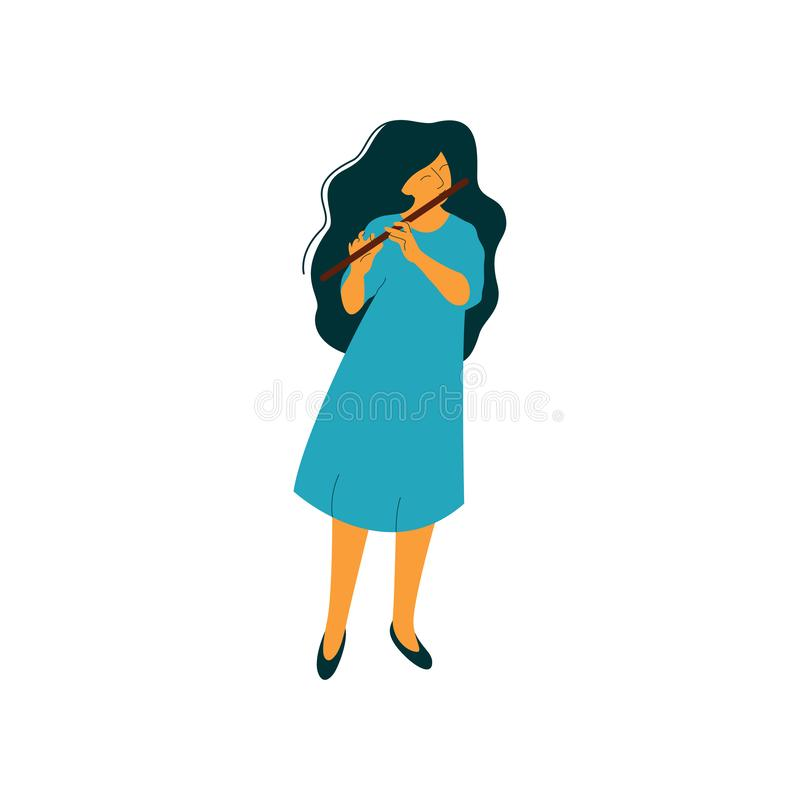 Young Woman Playing Flute, Female Musician Flutist with Classical Musical Instrument Vector Illustration. On White Background stock illustration