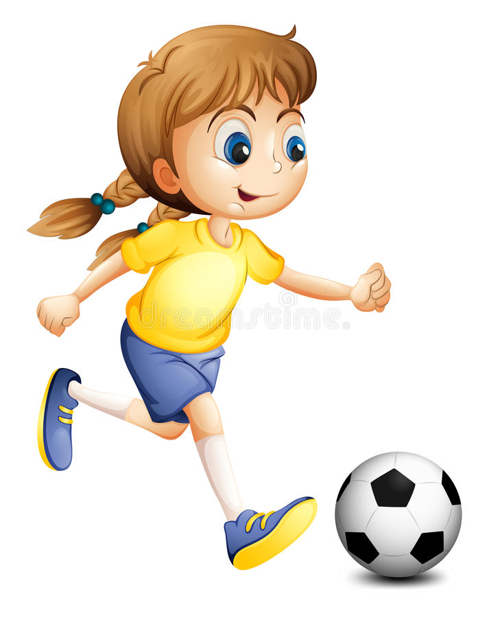 A young woman playing football vector illustration