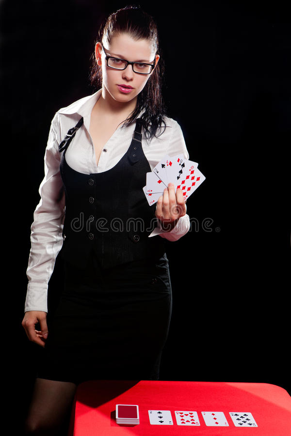Young woman playing in the gambling stock images