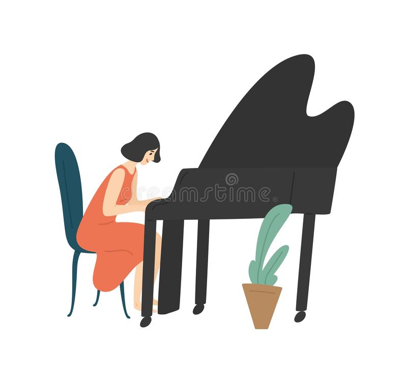 Young woman playing grand piano. Female pianist, musician or composer isolated on white background. Happy girl enjoying. Her hobby. Music performance or concert royalty free illustration