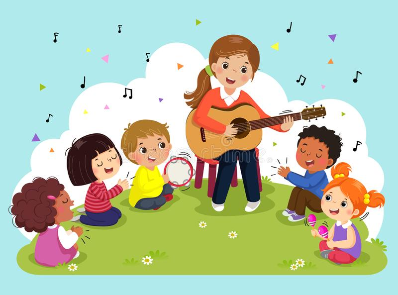 Young woman playing guitar with a group of kids singing and playing musical instruments. Female teacher and pupils having music in stock illustration