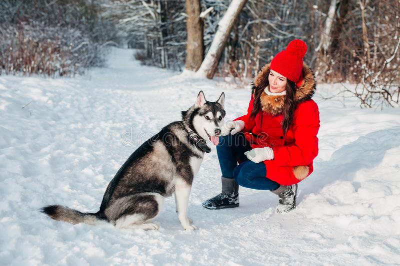 Young woman playing with her Husky dog in winter park. Young woman playing with her Husky dog in winter outdoor royalty free stock photo