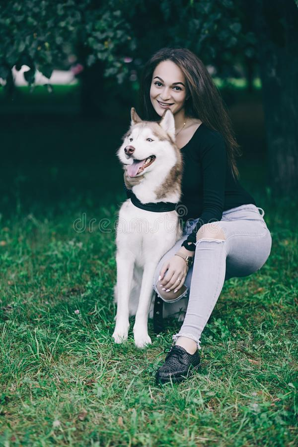 Young woman playing with husky dog. Outdoors in the park royalty free stock images