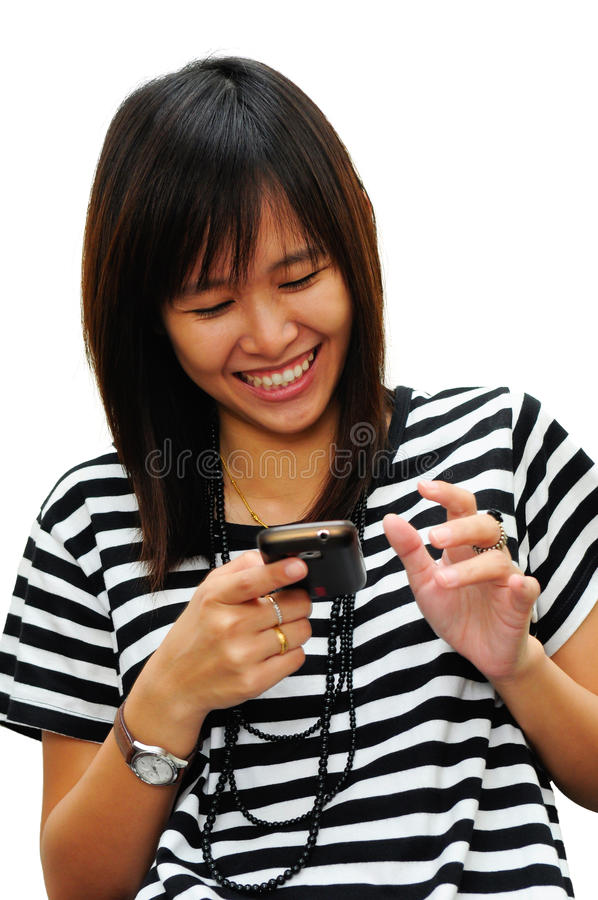 Young woman playing telephone isolated stock photo