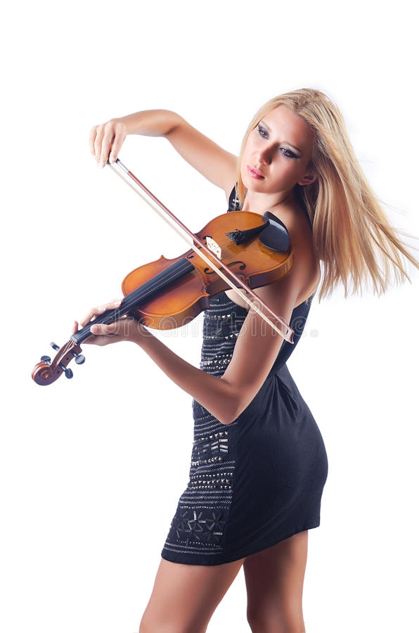 Download Young woman playing violin stock image. Image of background - 26841927