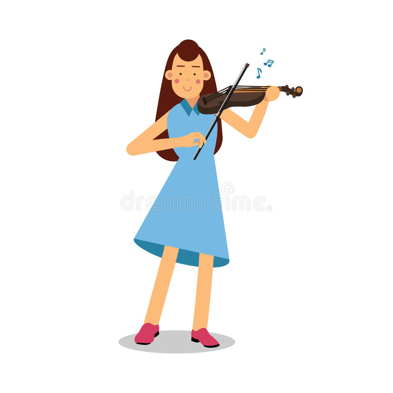 Young woman playing a violin cartoon character, violinist playing classical music vector Illustration. Isolated on a white background stock illustration