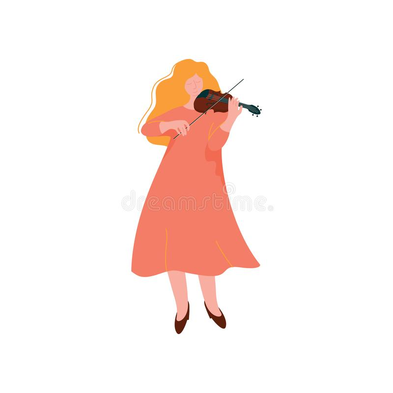 Young Woman Playing Violin, Female Musician Violinist ith Classical Musical Instrument Vector Illustration. Young Woman Playing Violin, Female Musician Violinist stock illustration