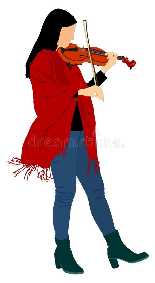 Young woman playing violin . Violin artist performer. Classic music event. String instrument event. royalty free illustration