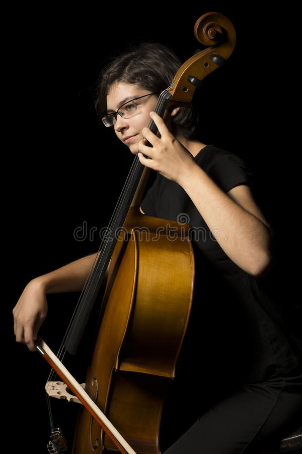 Download Young woman plays cello stock photo. Image of inspiration - 33608102
